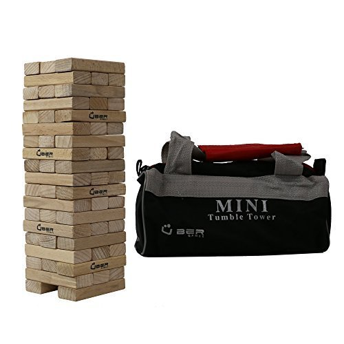 UBER Games Mini Wooden Tumble Tower with Storage Bag, Pine